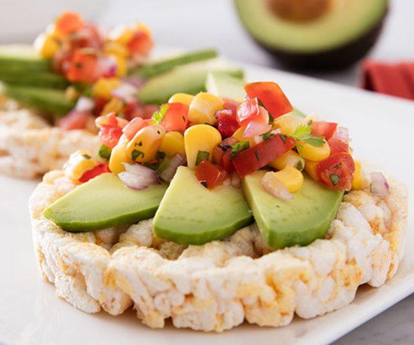 rice cakes and avocado snacks