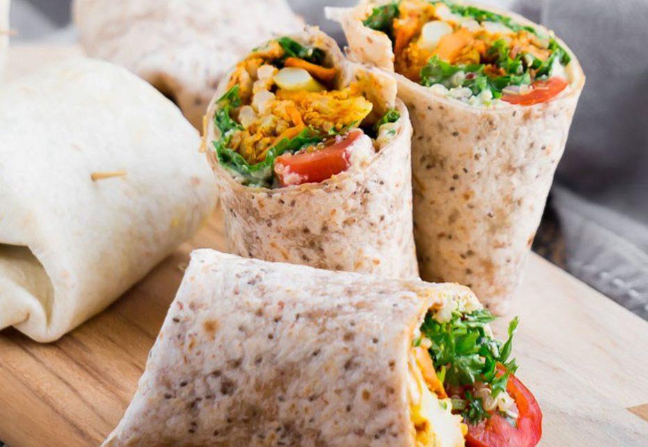 Gobi Aloo Wrap – Cauliflower, Potato & Toasted Red Lentil Vegan Hummus Wrap