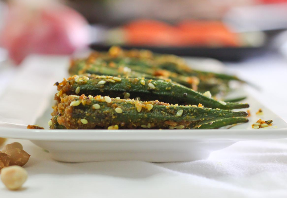 Indian Spiced Stuffed Okra