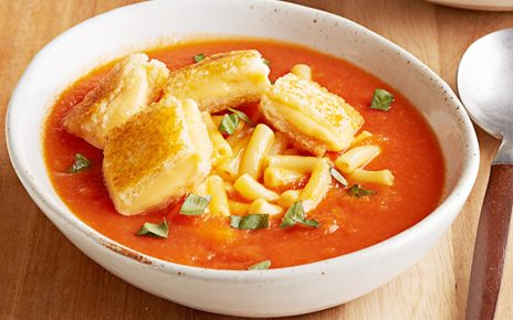 Creamy Tomato Soup with Vegan Grilled Cheese Croutons